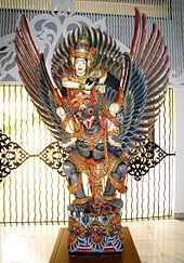 Balinese wooden statue of Vishnu riding Garuda, Purna Bhakti Pertiwi Museum, Jakarta
