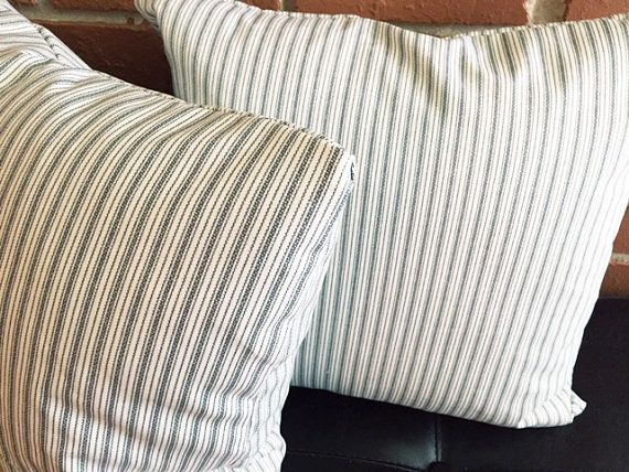 Set of 2 Farmhouse pillow covers  24x24 in  gray ticking pillow sham living room throw pillow sofa pillow covers grey  country cottage chic