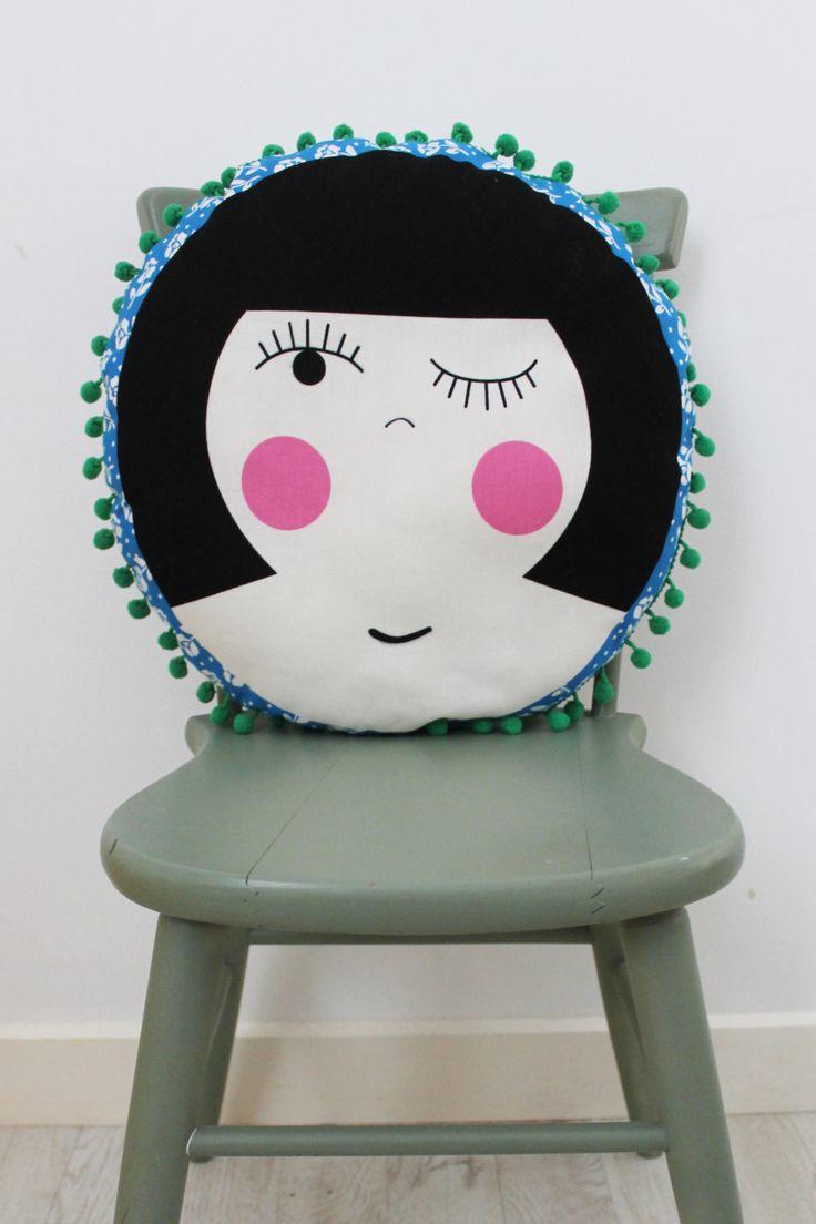 Dolly Circular Cushion with Pom Pom Trim by HullabalooKids on Etsy