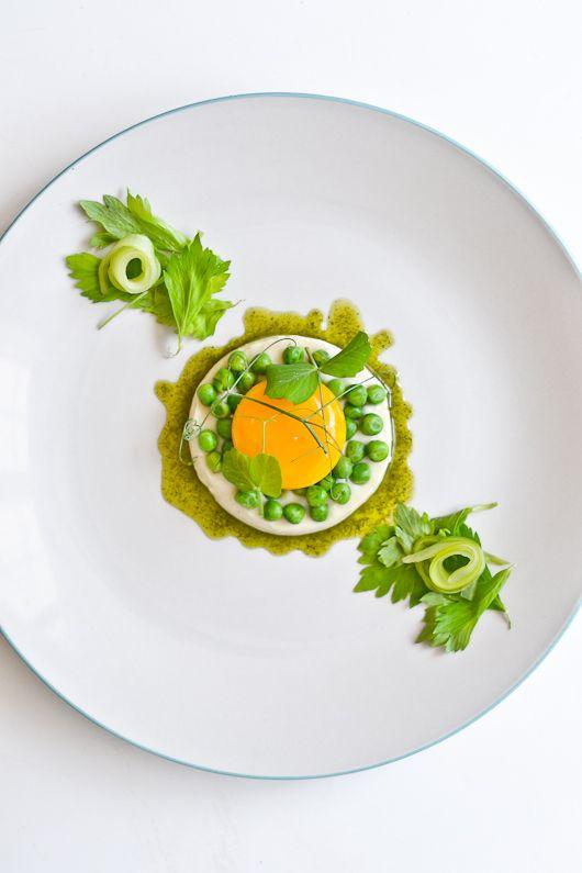 Celeriac Panna Cotta, Slow Poached Egg Yolk, Peas, Pickled Celery & Celery Leaves from Kitchen 72. L'art de dresser et présenter une assiette comme un chef de la gastronomie... > http://visionsgourmandes.com > http://www.facebook.com/VisionsGourmandes . Vous aimez Visions Gourmandes ? Alors participez en partageant cette photo ! ;) #gastronomie #gastronomy #chef #presentation #presenter #decorer #plating #recette #food #dressage #assiette #artculinaire #culinaryart #design #culinaire