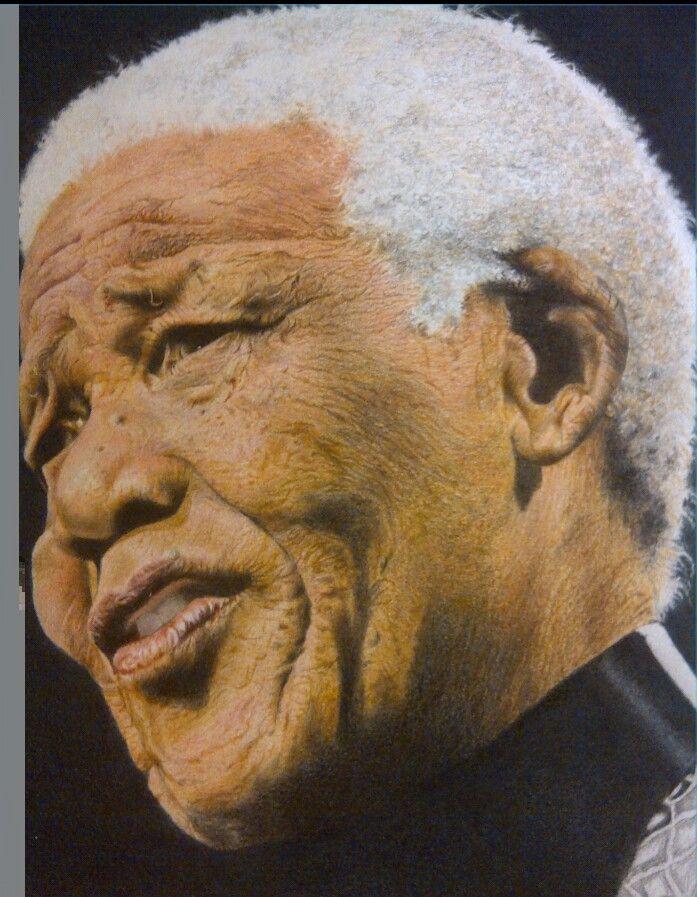 Mandela coloured pencil by Vicky van Houten