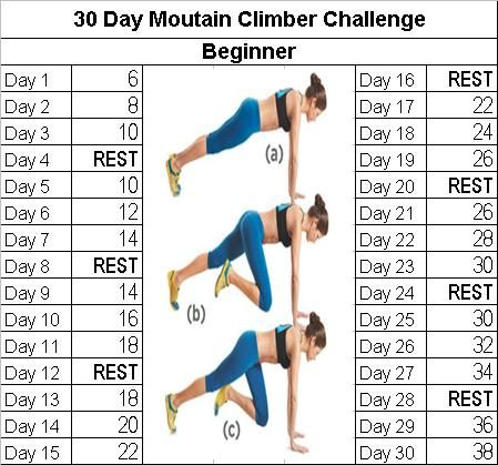 Fitness challenge: 30 Day Mountain Climber Challenge. There is an advanced version on the blog. More challenges as well :)