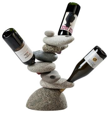 6 bottle Rock Wine Rack Made of natural stone and just really really nice. It looks like a piece of modern art.