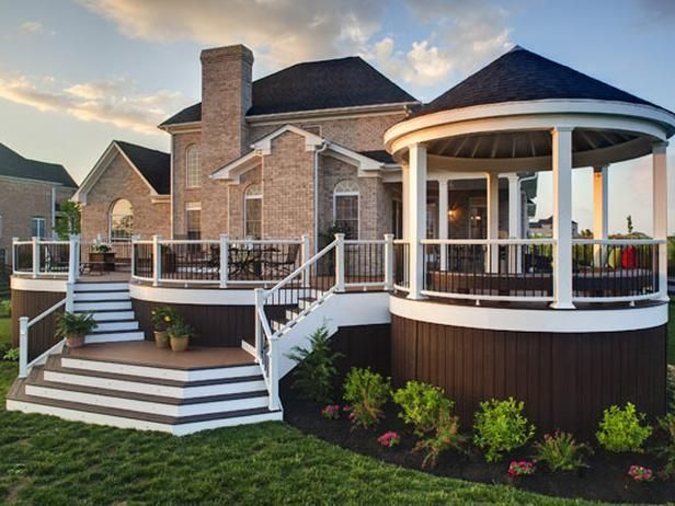 This deck is ideal for gathering with guests, as it has multiple areas for entertaining.