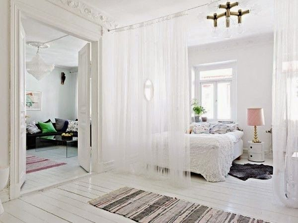 curtain room divider ideas: beautiful white sheer curtain as room divider