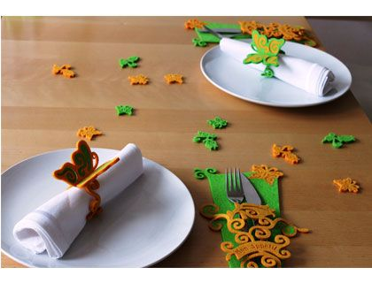 wycinane laserem wiosenne dekoracje stołowe