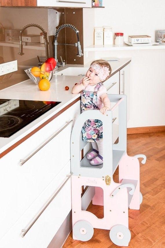 Blau // Grau Toddler in family Lernturm Tisch und Stuhl Montessori Learning Tower
