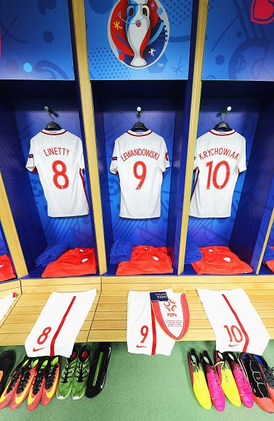 #EURO2016 The shirts worn by Poland players are hung in the dressing room prior to the UEFA EURO 2016 round of 16 match between Switzerland and Poland at Stade...