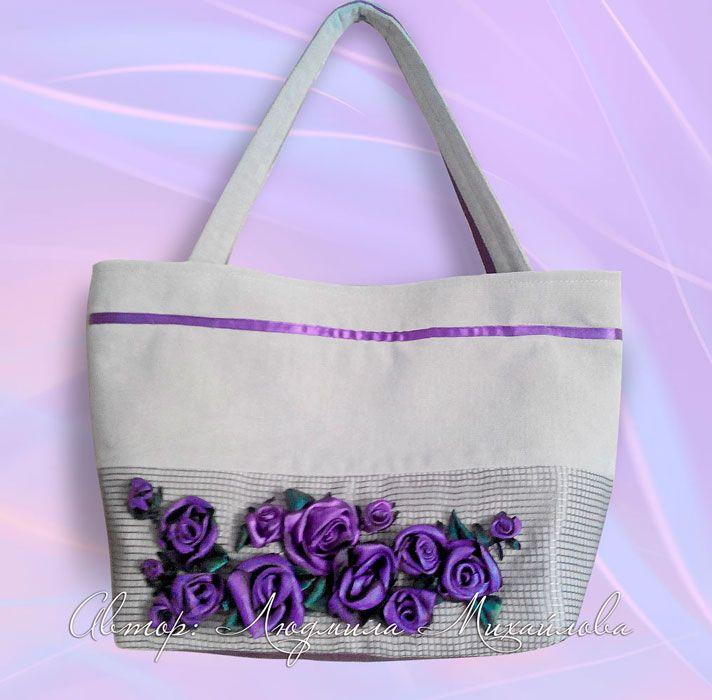 Дизайнерские сумки, авторские сумки, вышивка лентами, авторский дизайн, авторский дизайн сумок, декор, вышивка лентами розы