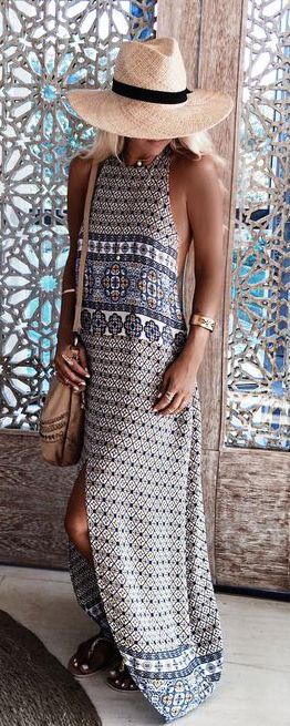 #summer #fashion / geometric print maxi dress