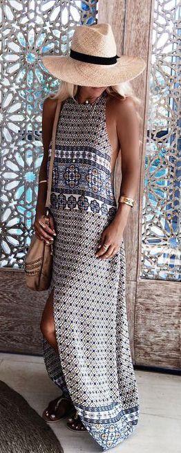#summer #fashion / geometric print maxi dress