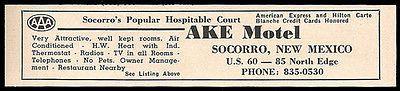 Ake Motel Ad Socorro New Mexico 1964 Roadside Ad AC Radios Route 60 Travel