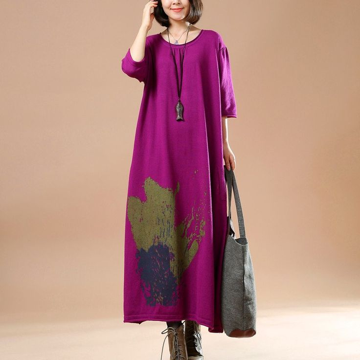 Women cotton sweater dress,machine wash.buykud dresses