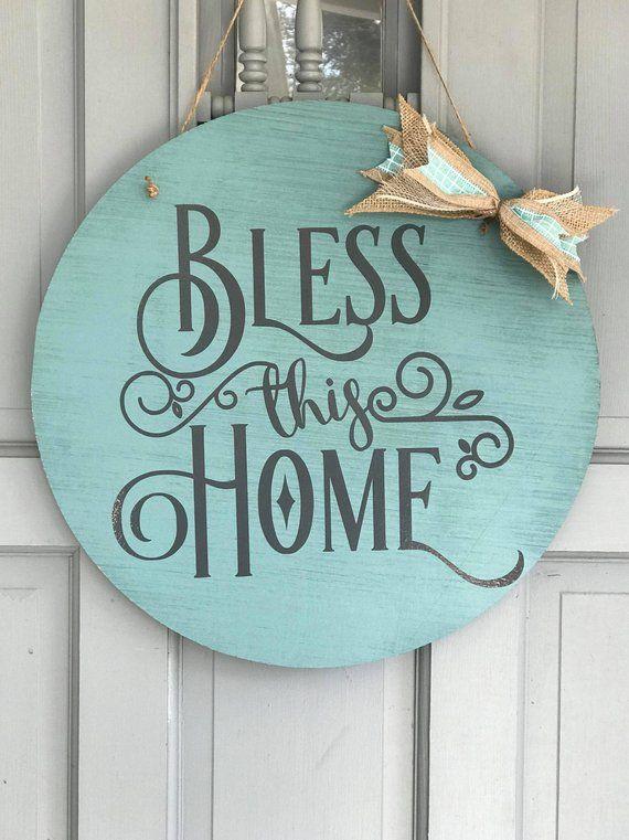 bless this home front door wreath alternative round door hanger rh pinterest com