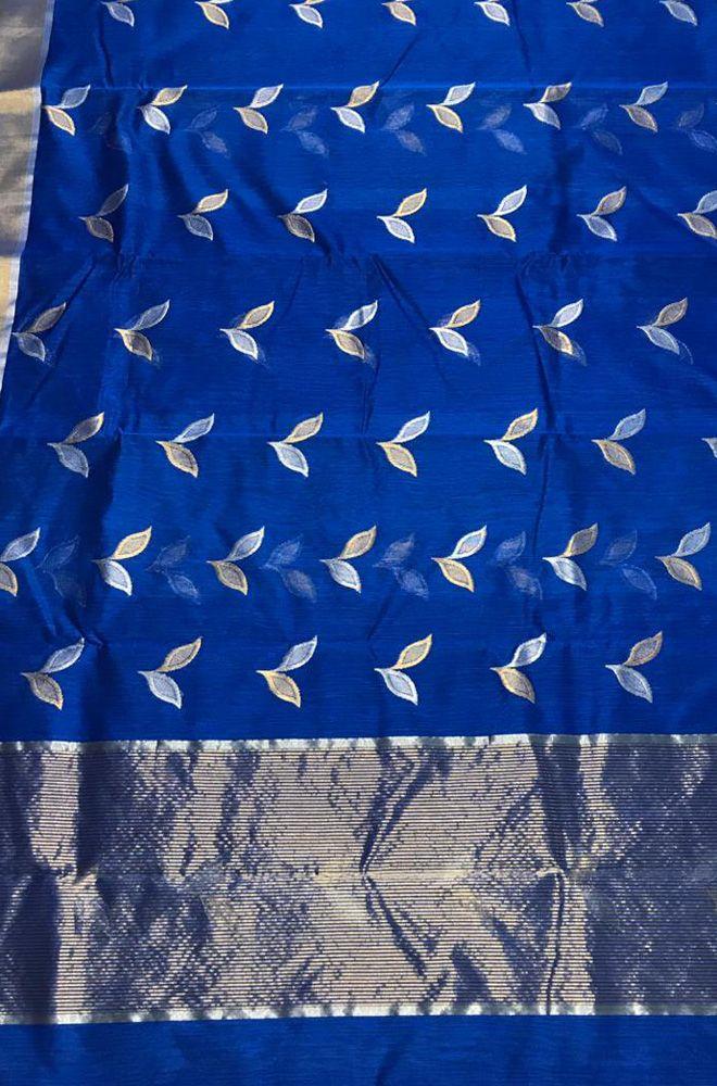 532461484 Blue Handloom Chanderi Silk Cotton Leaf Design Sona Roopa Saree   chanderisaree