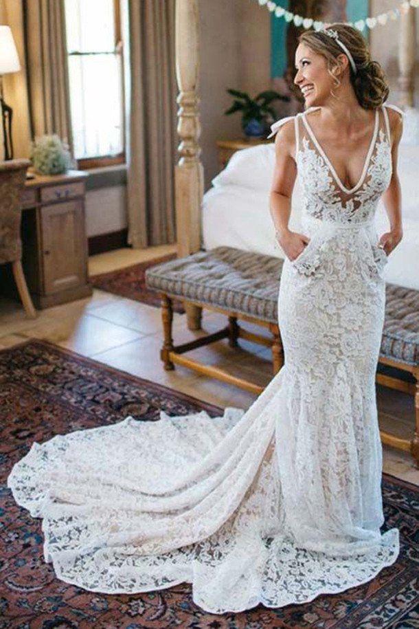 wedding dresses,wedding dress,Elegant Mermaid Wedding Dress,Deep V-Neck Beach Wedding Dresses,Sleeveless Ruched Lace Court Train Wedding Dress,Lace Wedding Gown