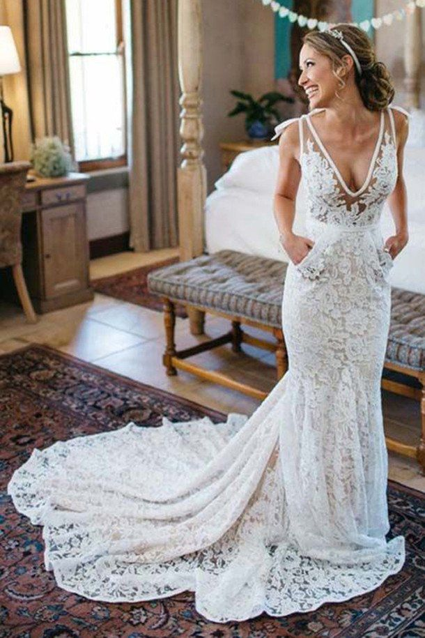wedding dresses,wedding dress,Elegant Mermaid Wedding Dress,Deep V-Neck Beach Wedding Dresses,Sleeveless Ruched Lace Court Train Wedding Dress,Lace Wedding Gown