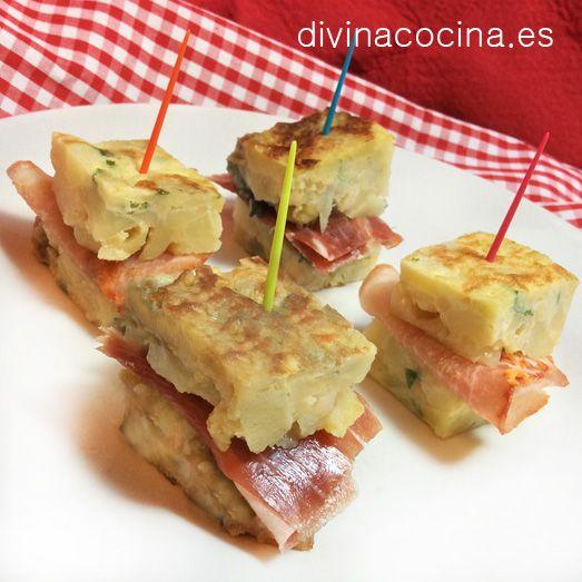Pinchos de tortilla de patata rellena de jamón ibérico» Cocina andaluza y del mundo»☆☆