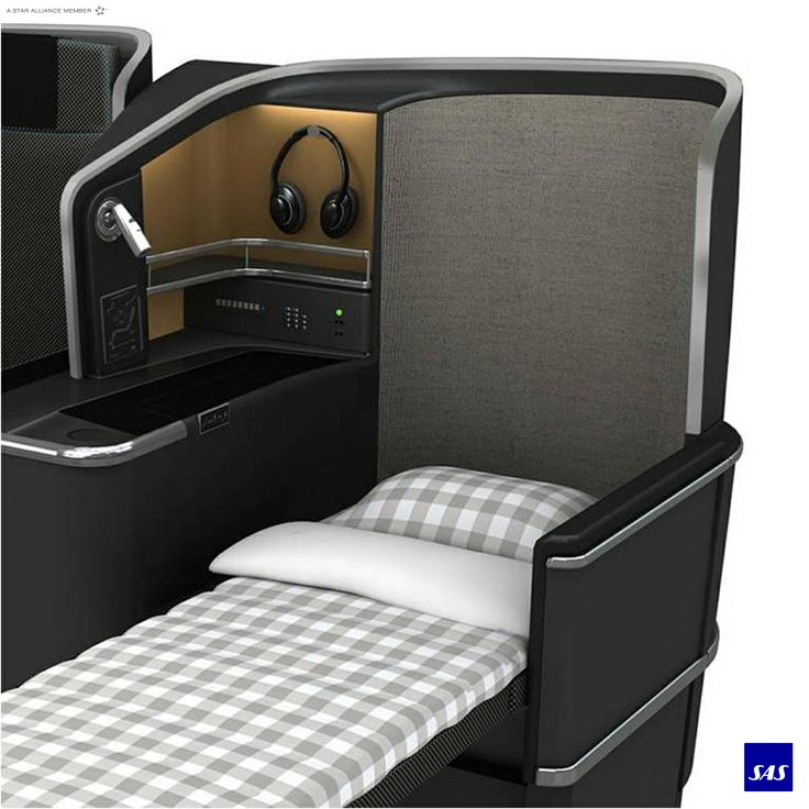 SAS Business. Fully flat bed, bedding from Hästens.