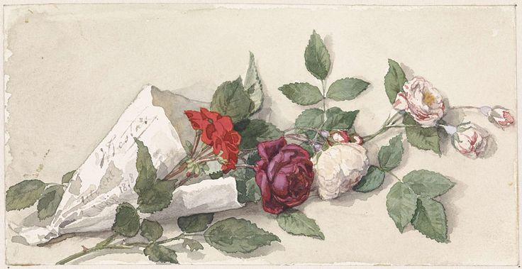 Boeket rozen en pelargonium, Willem de Famars Testas, 1878