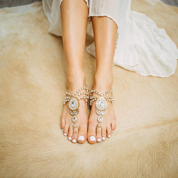 Jewelled gold barefoot sandals Women's flat por ForeverSoles