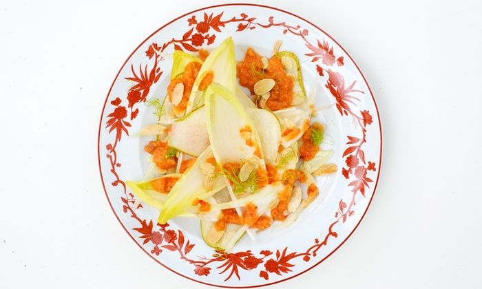 Nuno Mendes' chicory, pear and almond salad