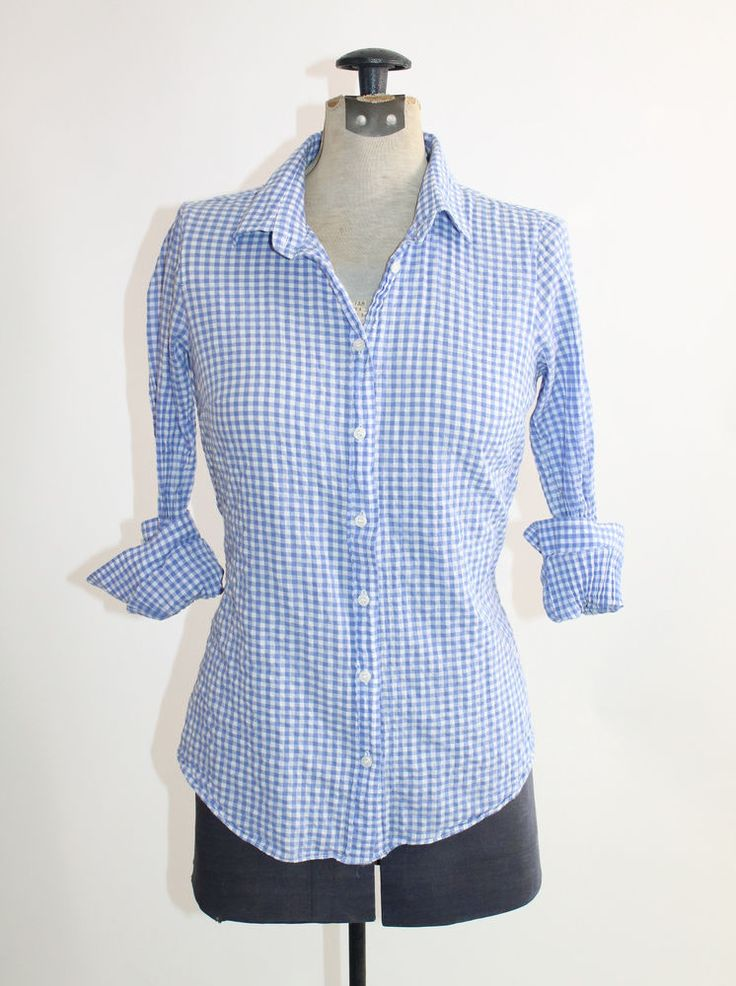 J.Crew Perfect Shirt Blue Crinkle Suckered Plaid Gingham Check Button Down XS #JCrew #ButtonDownShirt #Career