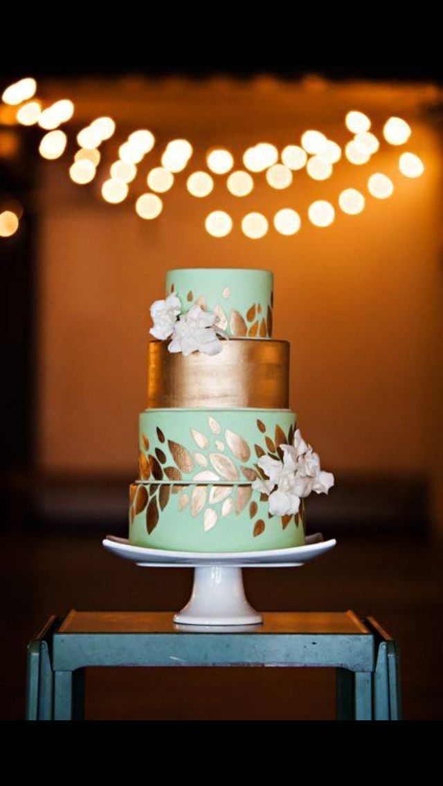 wedding cakes los angeles prices%0A Four Tiered Mint  u     Gold Wedding Cake with Gold Leaf Details  u     Fresh Flowers