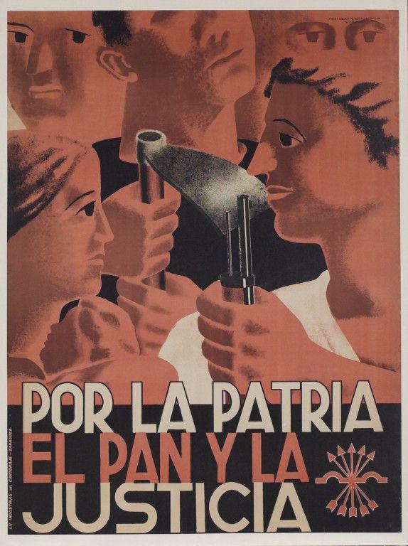 Por la patria, el pan y la justicia :: Spanish Civil War. Falange propaganda. #Spain #war #poster