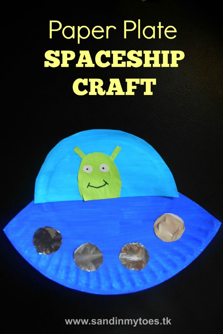 Simple and easy spaceship craft for kids made with a paper plate.