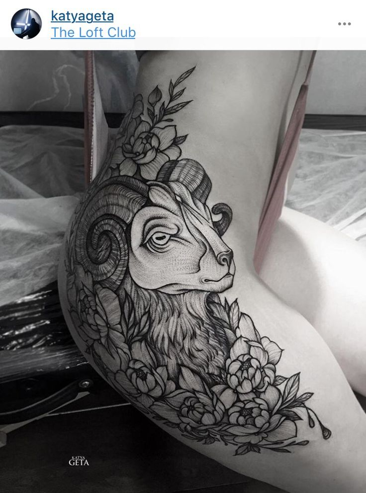 Seriously in love with this giant b&w goat tattoo with flowers on thigh/hip. Gorgeous work with perfect placement
