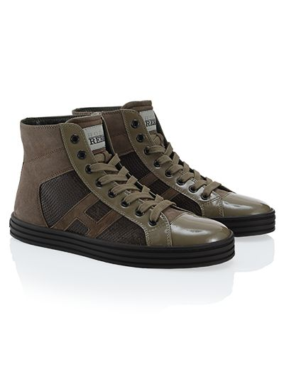 #HOGANREBEL R141High-Top #sneaker in #suede and patent #leather panels with embroidered sequins. Discover how to add a touch of #glamor to your look with #brown hoganrebel.com/women