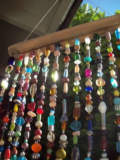 Bead sun catcher...for  window. Nice way to use up odd beads from your stash.