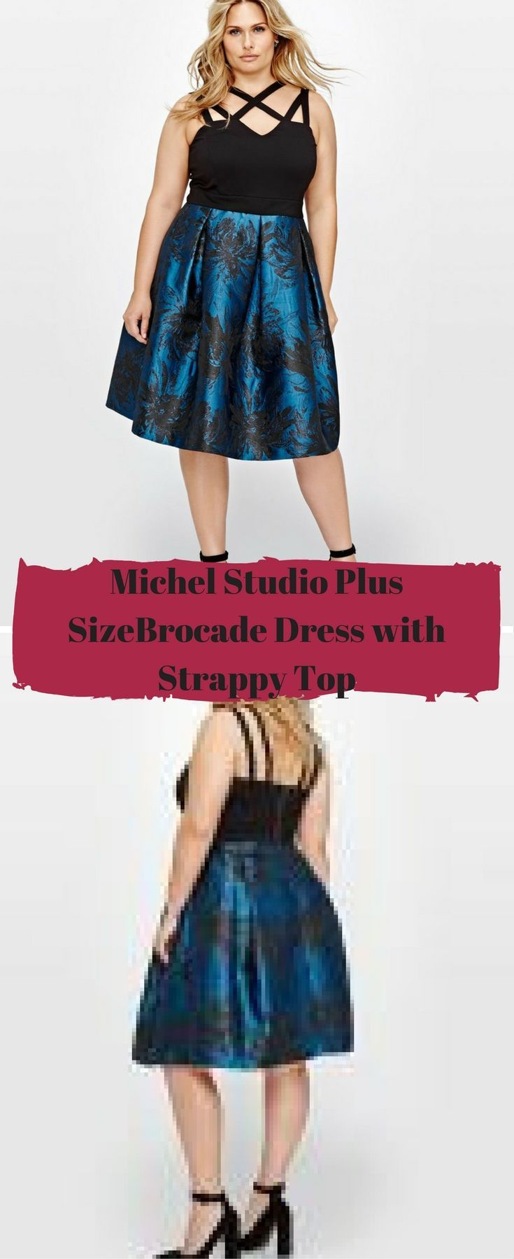 Party in style and look elegant in this plus size dress by Michel Studio, featuring a lovely floral bottom with a metallic shimmer and strappy top for a sexy look.#plussize #ad Plus Size Fashion / New Years Dress / Christmas Dress / Party Dress