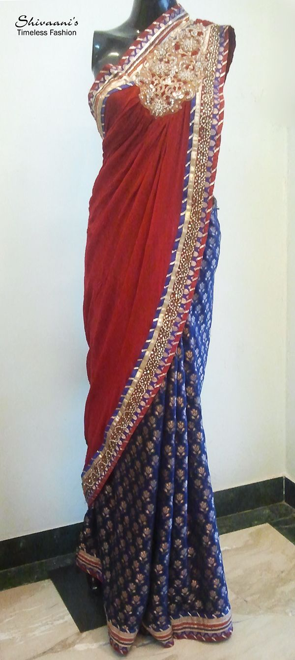 A ghagra saree in brocade and georgette with zardosi embroidery...Design & creation by Shivaani