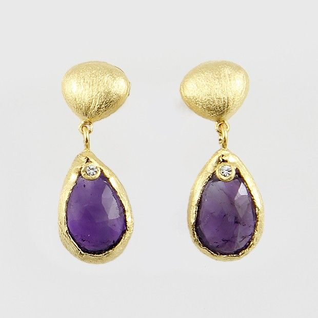 Sterling Silver Stud Earrings with Zircon and Amethyst, plated in 24k gold.