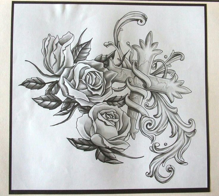 Rose sleeve tattoo stencil