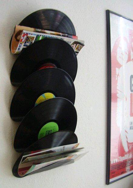 Dishfunctional Designs: Repurposed Vinyl LP Record Album Art - get your albums at renewsables and make your own magazine holder!
