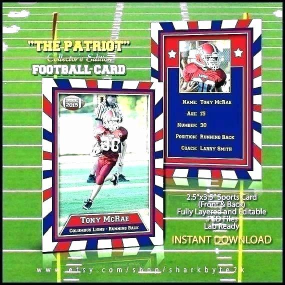 Football Player Template Printable Awesome Sports Trading Card Template Trading Card Template Football Players Template Printable