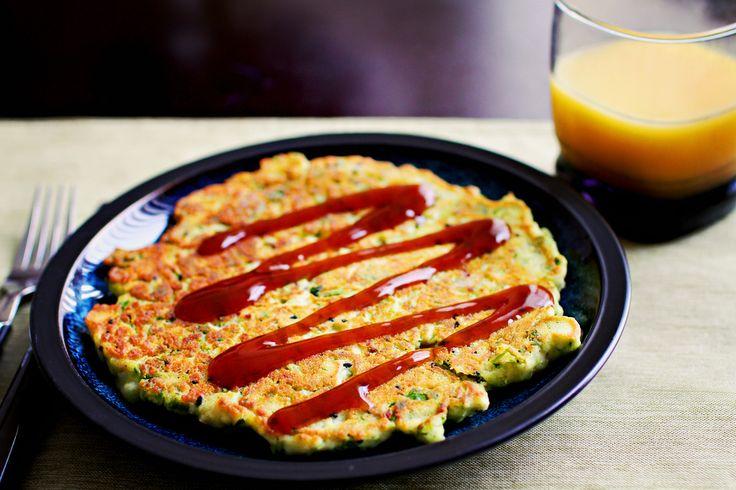Okonomiyaki (Savory Japanese Pancake) // plain flour, apple cider vinegar, baking soda, spinach or kale or nappa cabbage, rice milk or water, salt, okonomi or katsu/tonkatsu or teriyaki sauce, green onions, shallots, ginger, garlic, seaweed