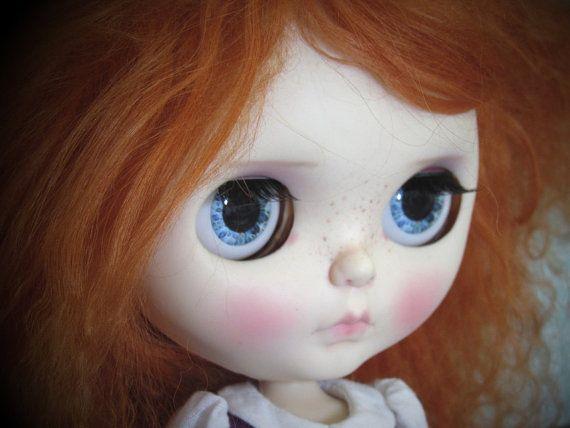 Realistische Blythe Puppe Eyechip - blau und Elfenbein