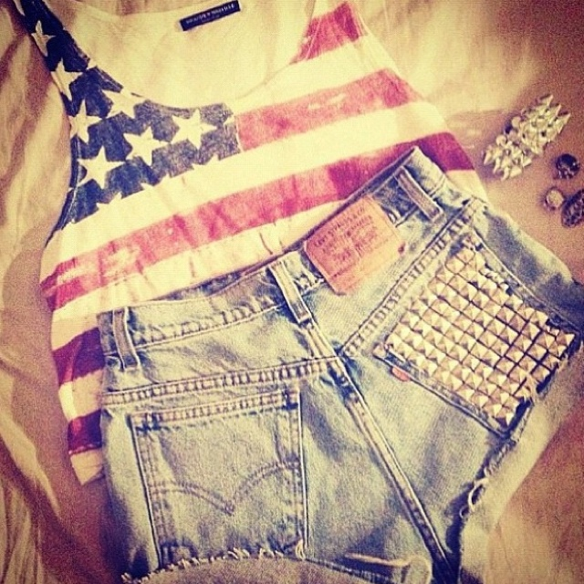 USA4Thofjuly, Fashion, Summer Outfit, Style, Clothing, Fourth Of July, 4Th Of July, High Waist Shorts, American Girls