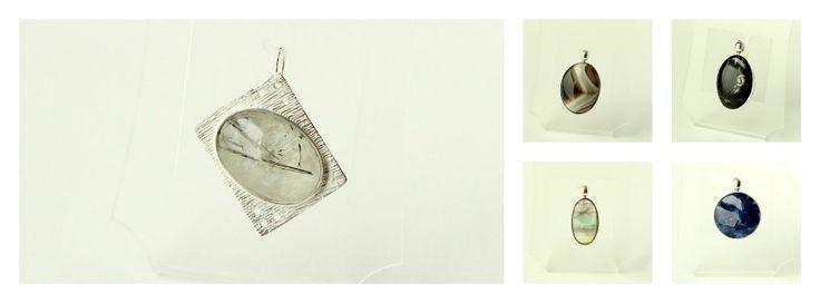 Medallones elaborados en plata 950 con piedras naturales: cuarzo con turmalina, ágata, sectárea, fluorita y sodalita. Diseños propios Sil & Soul. Silvia Tapia.