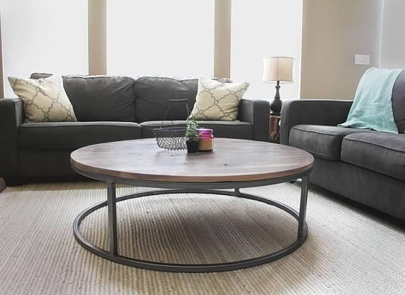 Large Round Wood Coffee Table, Wood Top, Steel Frame   Free Shipping   JW