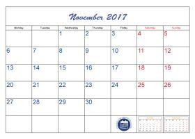 monthly calendar november 2018