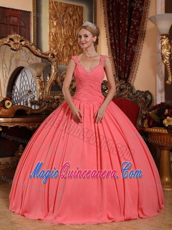 Merida Mexico V-neck Beaded and Ruched Watermelon Dresses for 15