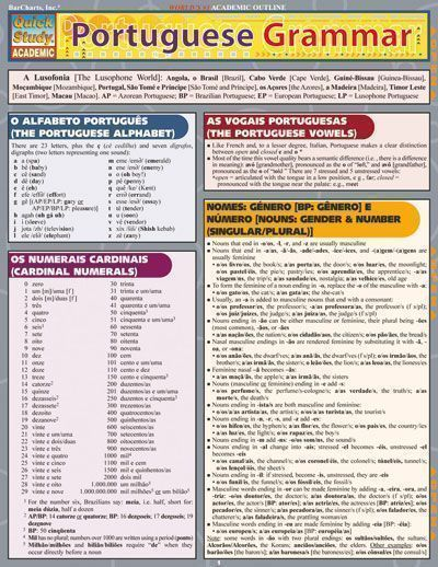 PORTUGUESE GRAMMAR QuickStudy® $5.95 Includes some important major differences between types of Portuguese by geographical region. 6-page laminated guide includes: • alphabet • cardinal numbers • vowels • gender & number • pronouns and more! #Portuguese #language #study #portugueselanguage #learnportuguese #studyportuguese