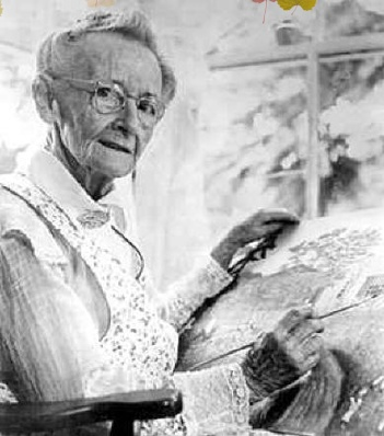Grandma Moses was a popular American Folk Artist who began painting in her late 70;s.  She was born Anna Mary Moses on September 7, 1860 in Greenwich, New York and died at age 101 on December 13, 1961.
