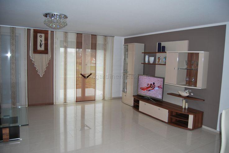 Beige-brauner Schiebevorhang fürs Wohnzimmer mit ...