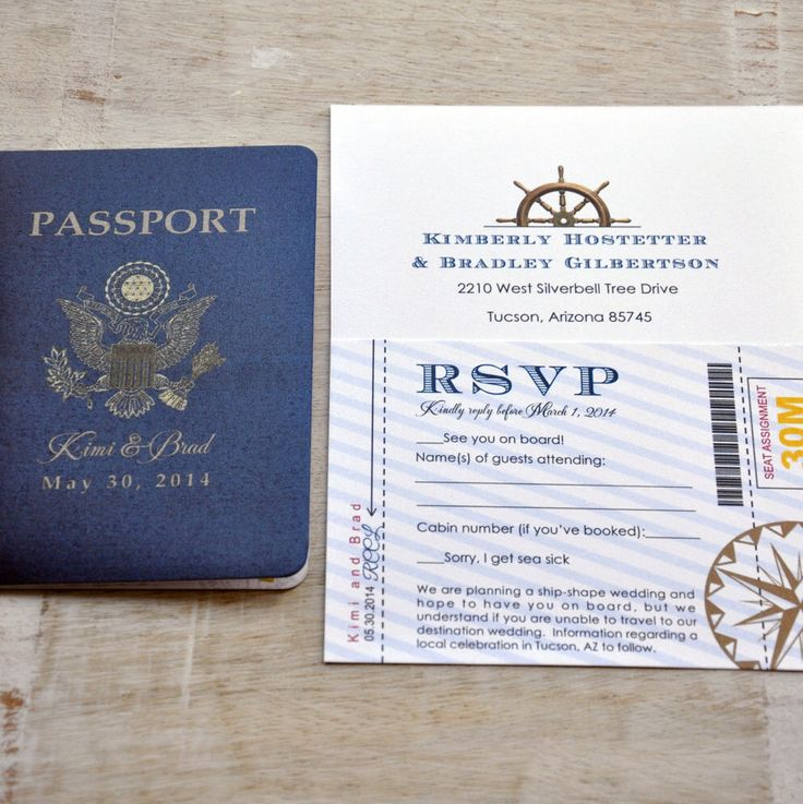 destination wedding invitation rsvp date%0A Passport Wedding Invitation Design Fee  US Traditional Emblem with Nautical  Elements  by SproullieDesigns on